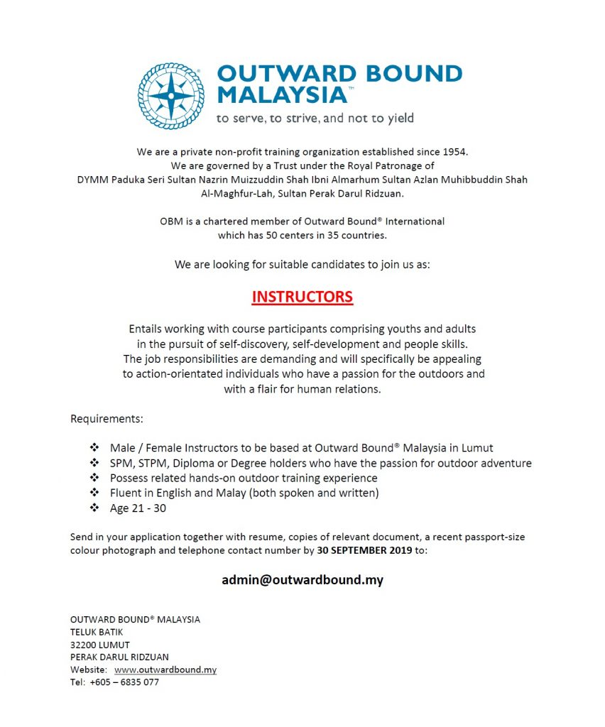 Job Vacancy – The Outward Bound Trust of Malaysia